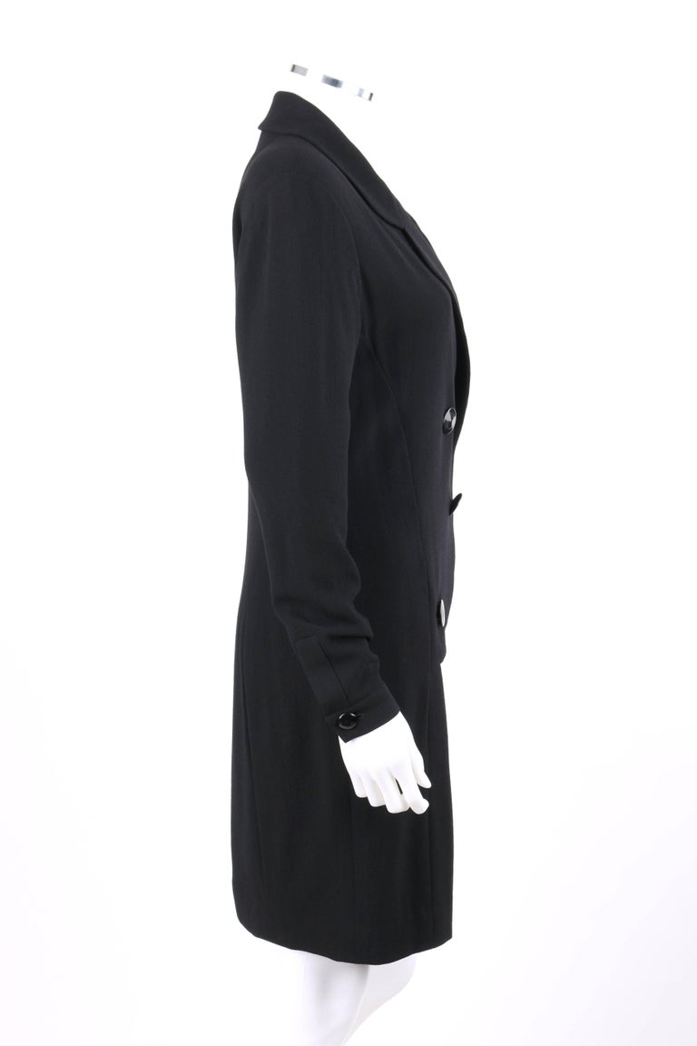 CHANEL Boutique c.1980's Black Wool Crepe Double Breasted One Piece Dress Suit In Excellent Condition For Sale In Thiensville, WI
