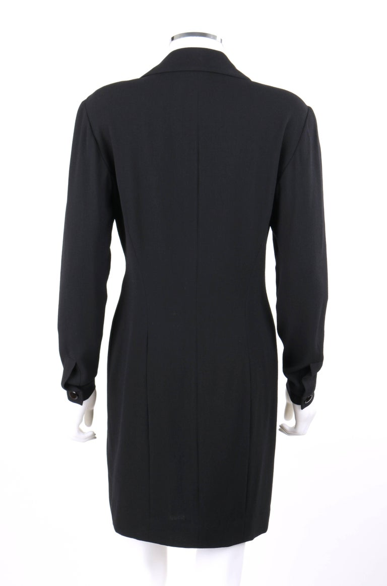 Women's CHANEL Boutique c.1980's Black Wool Crepe Double Breasted One Piece Dress Suit For Sale