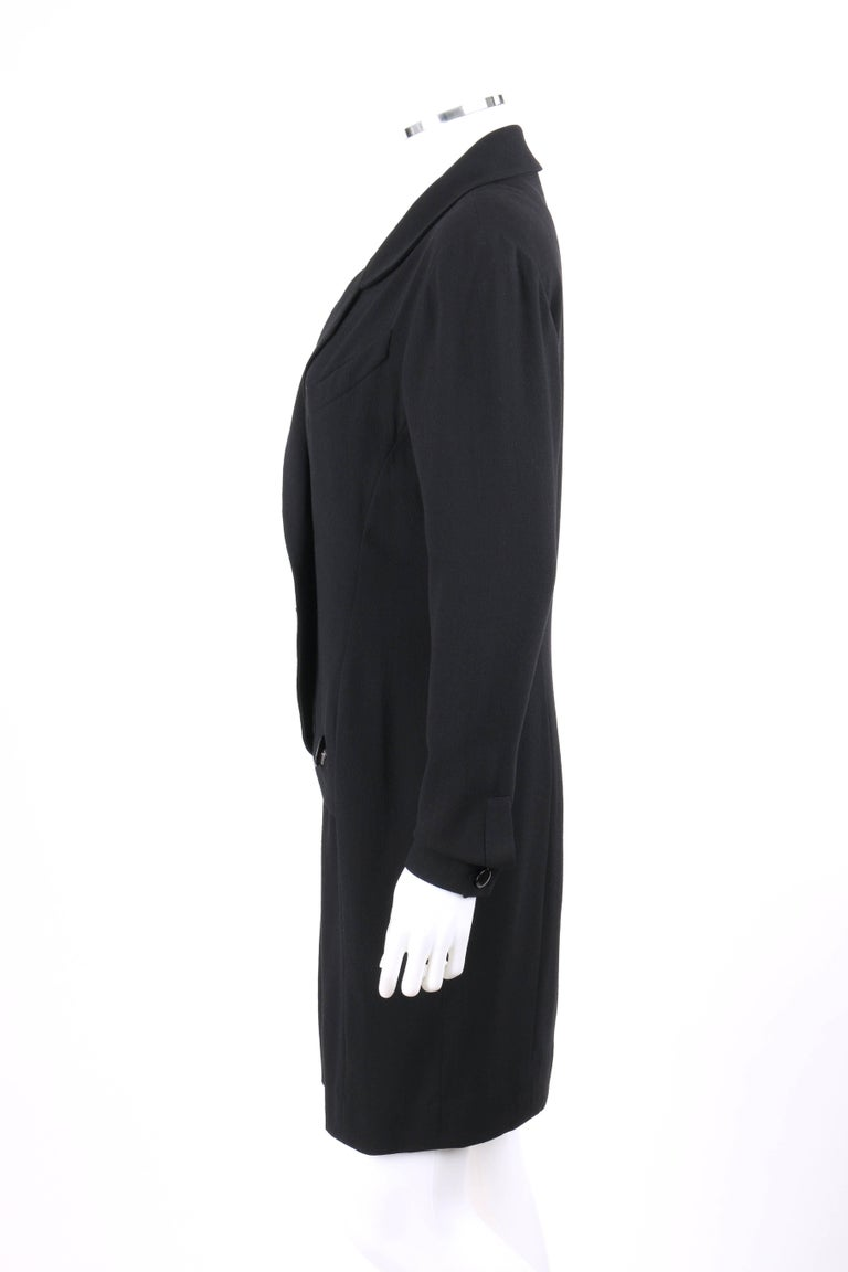 CHANEL Boutique c.1980's Black Wool Crepe Double Breasted One Piece Dress Suit For Sale 1