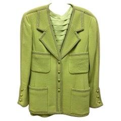 CHANEL BOUTIQUE Chartreuse Green Suit Signature Chanel