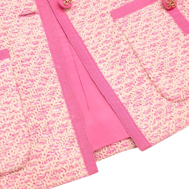 Chanel Boutique Classic Pink & Yellow Tweed Tailored Jacket - Size US6 For Sale 3