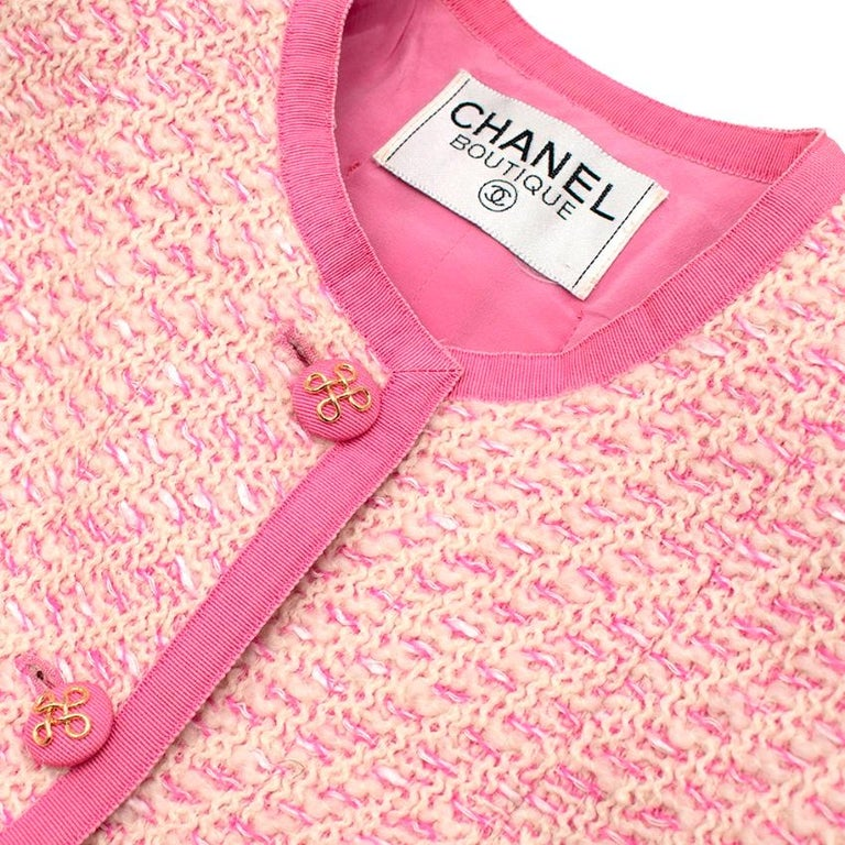 Chanel Boutique Classic Pink & Yellow Tweed Tailored Jacket - Size US6 For Sale 5
