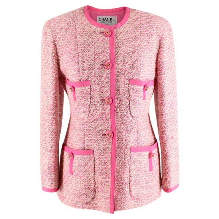 Chanel Boutique Classic Pink & Yellow Tweed Tailored Jacket - Size US6 For Sale