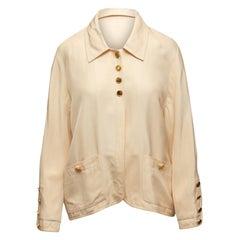 Chanel Boutique Cream Lightweight Silk Jacket
