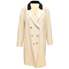 Chanel Boutique Cream Long Double-Breasted Coat