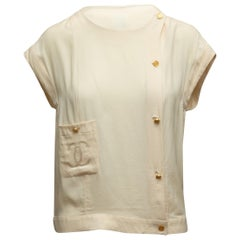 Chanel Boutique Cream Short Sleeve CC Top