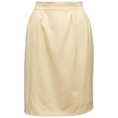Chanel Boutique Cream Wool Knee-Length Skirt