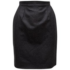 Chanel Boutique Dark Grey Wool Pencil Skirt