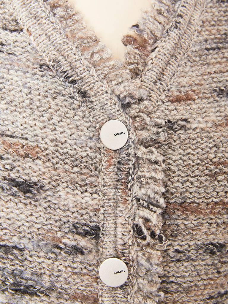 Gray Chanel Boutique Knit Cardigan with Fringe Detail For Sale