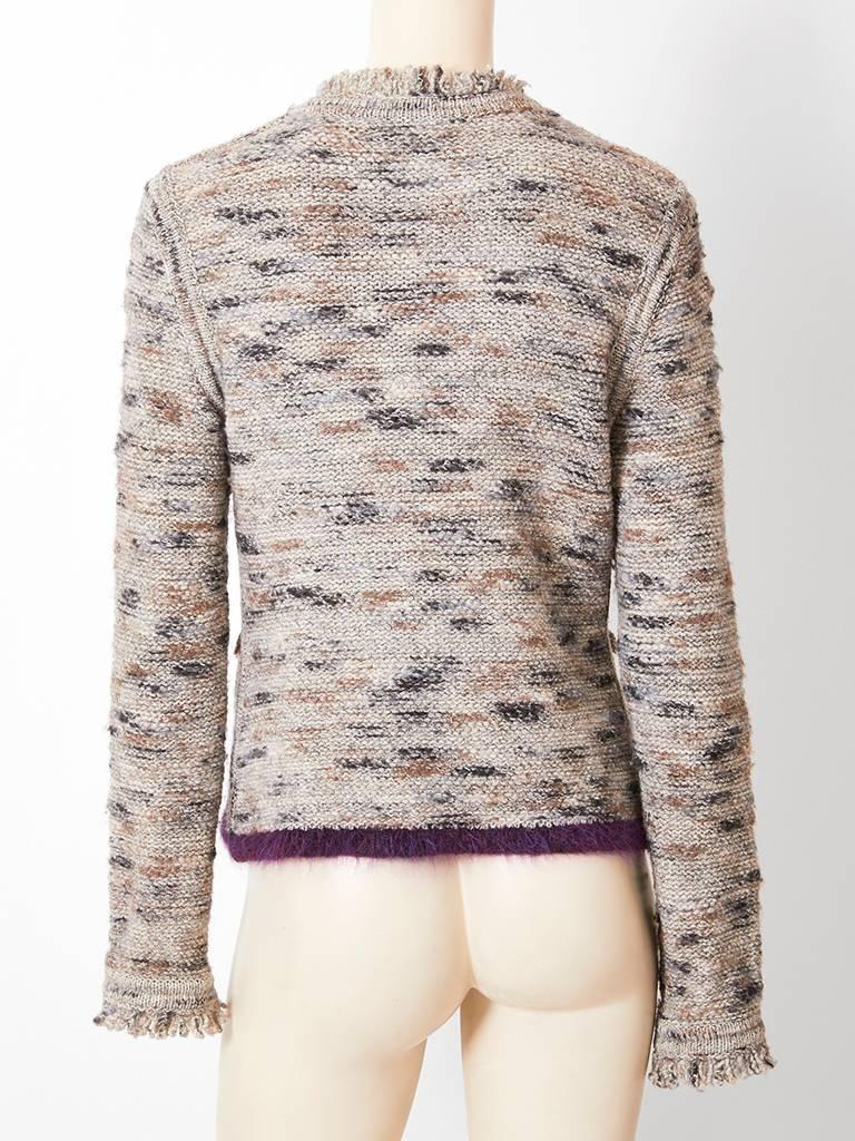 Chanel Boutique Knit Cardigan with Fringe Detail In Excellent Condition For Sale In New York, NY