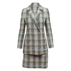Chanel Boutique Light Blue & Multicolor Plaid Skirt Suit