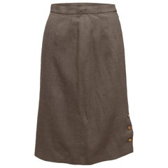 Chanel Boutique Light Brown Wool Skirt