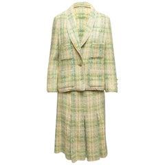 Chanel Boutique Light Green & Multicolor Boucle Skirt Suit
