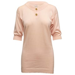Chanel Boutique Light Pink Short Sleeve Sweater
