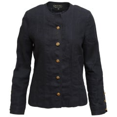 Chanel Boutique Navy Blue Linen Jacket