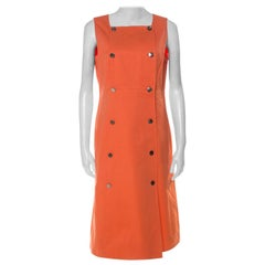 Chanel Boutique Orange Cotton Sleeveless Pinafore Dress L