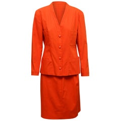 Chanel Boutique Orange Skirt Suit