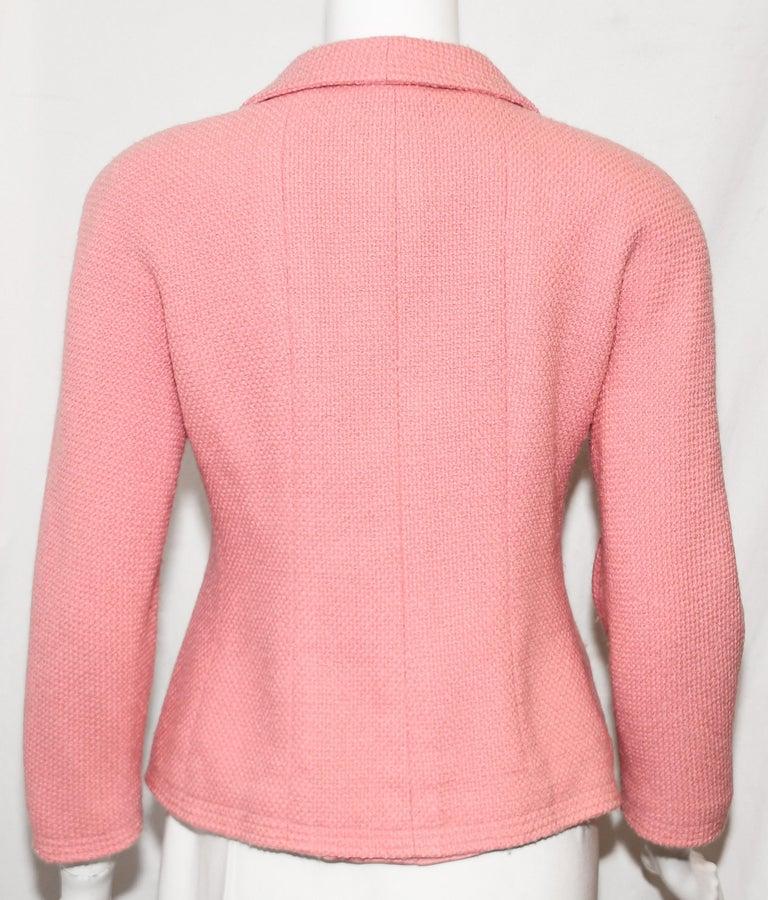 Chanel Boutique Pink Double Breasted Cropped Jacket With Gold Tone CC Buttons  In Excellent Condition For Sale In Palm Beach, FL