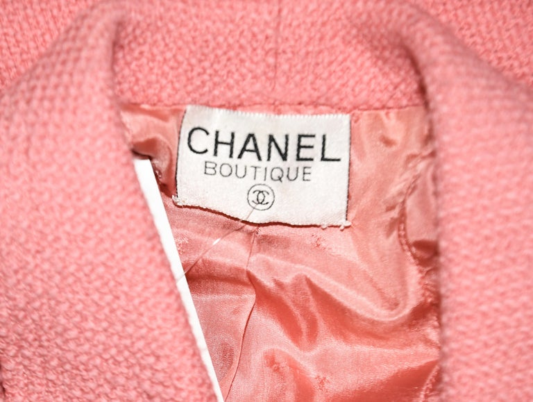 Chanel Boutique Pink Double Breasted Cropped Jacket With Gold Tone CC Buttons  For Sale 1