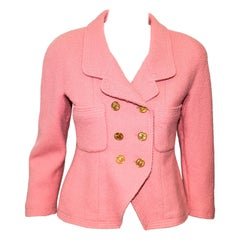 Chanel Boutique Pink Double Breasted Cropped Jacket With Gold Tone CC Buttons