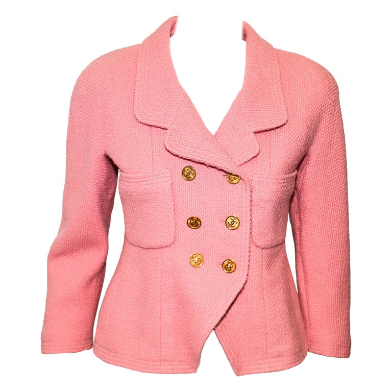 Chanel Boutique Pink Double Breasted Cropped Jacket With Gold Tone CC Buttons  For Sale