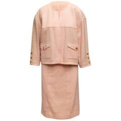 Chanel Boutique Pink Tweed Skirt Suit