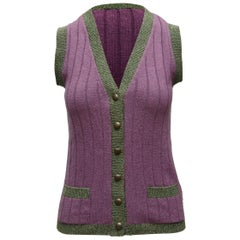 Chanel Boutique Purple & Green Cashmere Vest