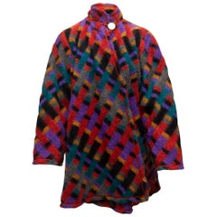 Chanel Boutique Red & Multicolor Patterned Coat