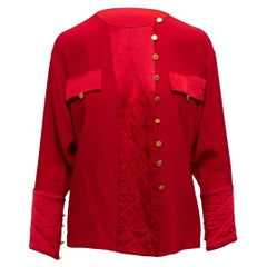 Chanel Boutique Red Silk Long Sleeve Blouse