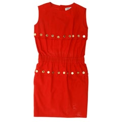 Chanel Boutique Red Sleeveless Button-Accented Dress