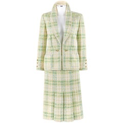 CHANEL Boutique S/S 1984 2 Pc Classic Tweed Blazer Jacket Skirt Suit Set 40 / 46
