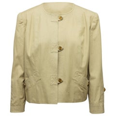 Chanel Boutique Tan Collarless Jacket