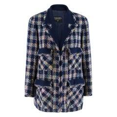 Chanel Boutique Vintage Check Tweed Coat S