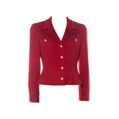 Chanel Boutique Vintage Red Cashmere Cropped Jacket M