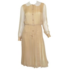 Chanel Boutique Vintage Silk Chiffon Pleated Dress