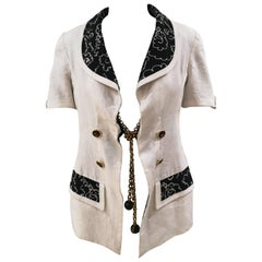 Chanel Boutique white and black linen gold chain jacket