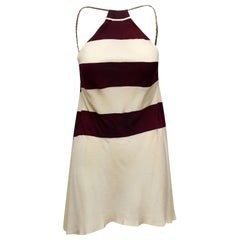 Chanel Boutique White & Maroon Striped Halter Top