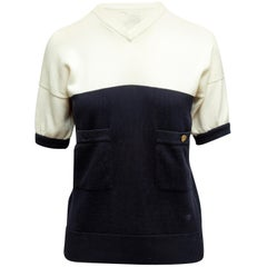 Chanel Boutique White & Navy Color Block Top