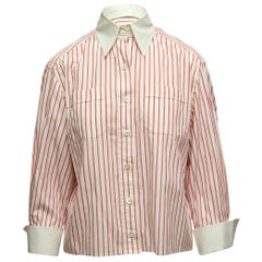 Chanel Boutique White & Red Striped Button-Up