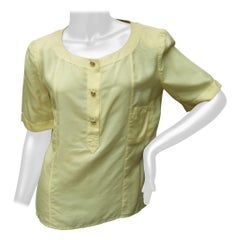 Chanel Boutique Yellow Silk Blouse with Chanel Gilt Buttons c 1980s