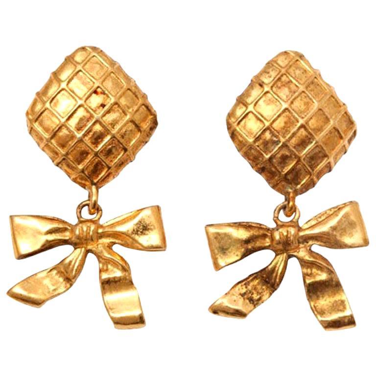 Chanel Bow Dangling Earrings For Sale