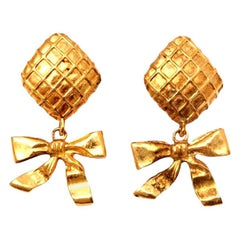Chanel Bow Dangling Earrings
