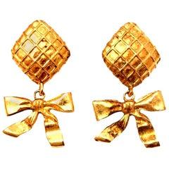 Chanel Bow Dangling Earrings