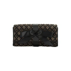 Chanel Bow Flap Clutch Crystal Embellished Satin Small