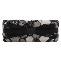 Chanel Bow Flap Clutch Lace and Satin