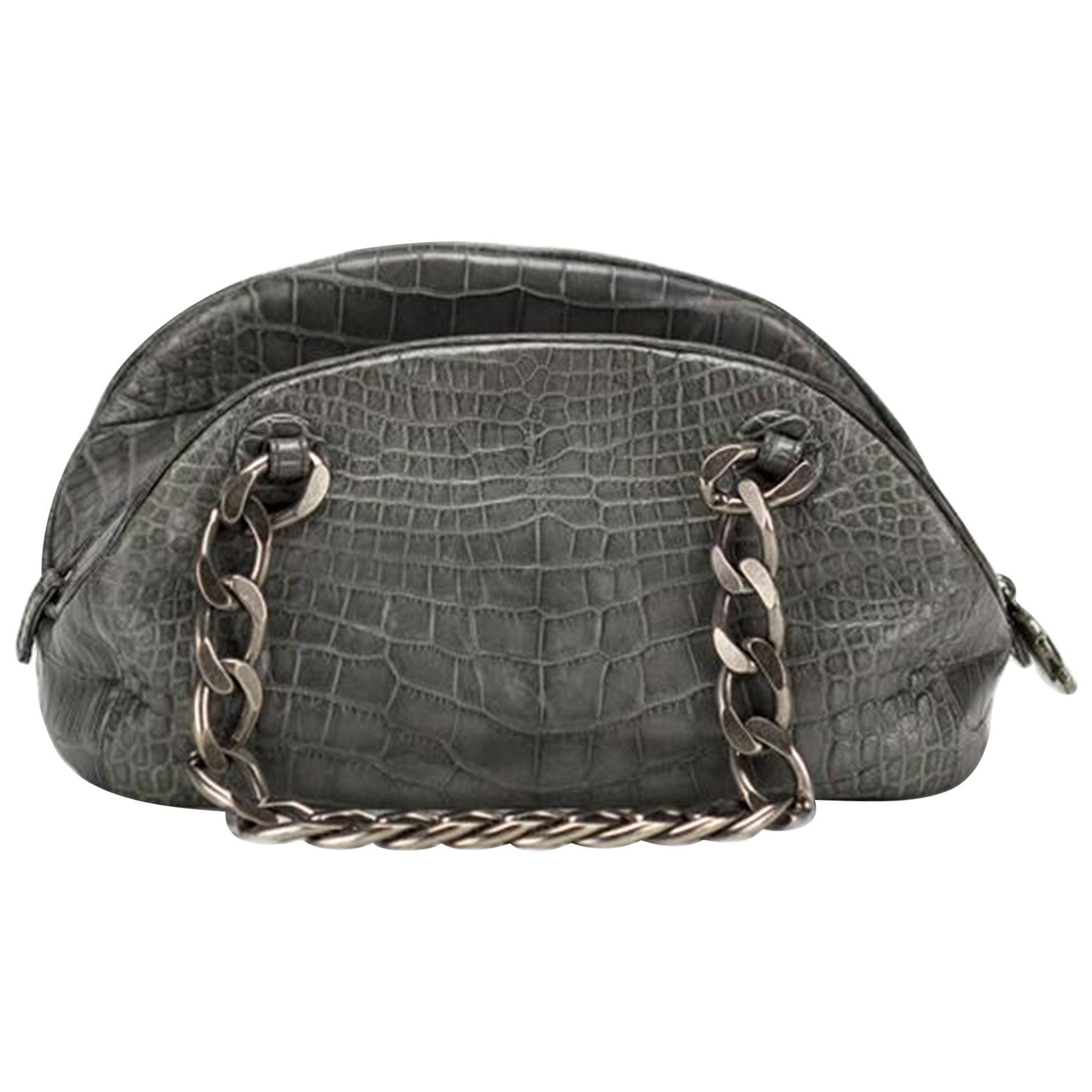 Chanel Bowling Bag Exotic Bowler Paris NY Grey Crocodile Skin Leather Satchel
