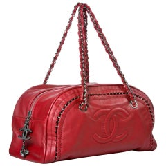 Chanel Bowling Bag Luxury Ligne Leather As Seen On Ivanka Trump Red Lambskin Bag