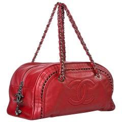 Chanel Bowling Bag Luxury Ligne Leather Red Lambskin Satchel