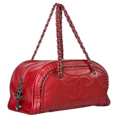 Chanel Bowling Bag Luxury Ligne Leather Red Lambskin Satchel