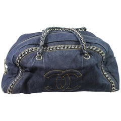 Chanel Bowling Jean Denim Bag with Chains